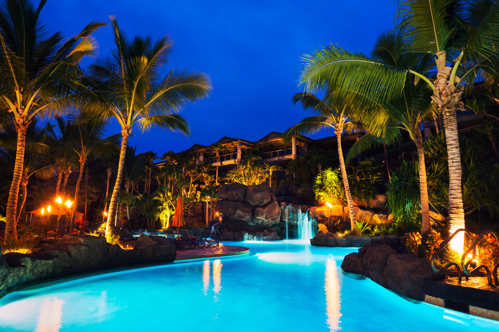 Commercial Swimming Pool at Night