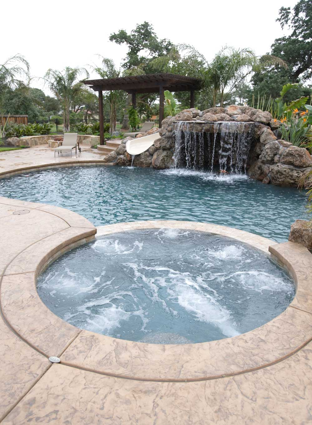 Back Yard Pool with Waterfall